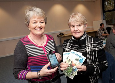 The Tourism Partnership for Wales launch new leaflets incorporating QR codes for Smart Phones. Pictured: Carole Startin and Esther Roberts