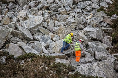 Stone being extracted from a quarry in Holyhead for Dutch Mariners? Memorial.From left,
